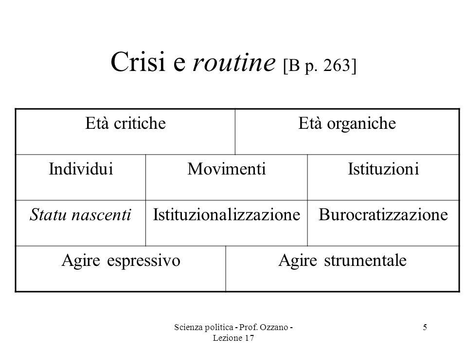 Crisi e routine [B p. 263] Età critiche Età organiche Individui